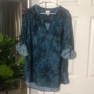 Ava & Viv 1X teal and black blouse